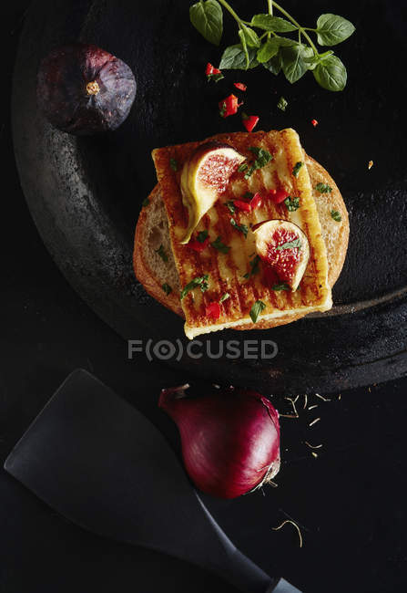 Directly above shot of open sandwich on granite — Stock Photo