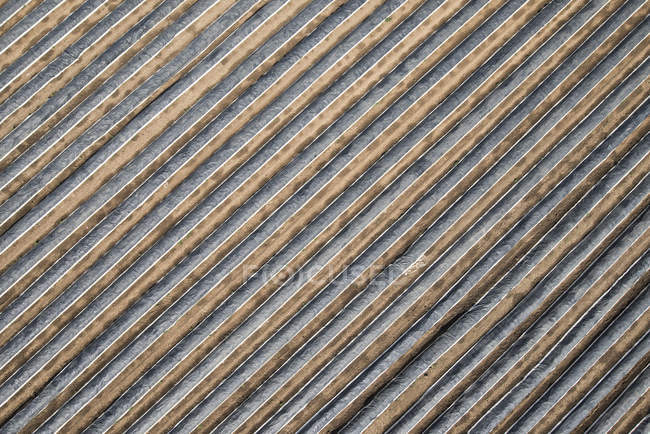 High angle tilt view of plastic covered agricultural field — Stock Photo