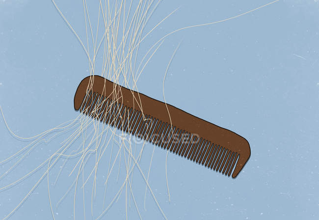 Illustration of comb with hair on blue background — Stock Photo