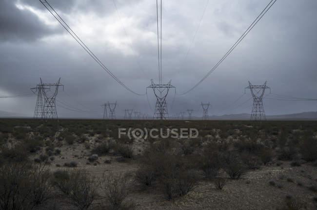 Электрические пилоны и растения в поле против облачного неба — стоковое фото