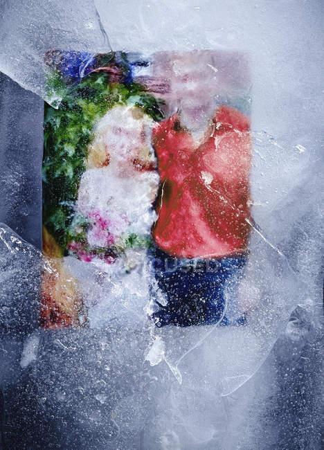 Vista nascosta della fotografia di famiglia congelata nel ghiaccio — Foto stock