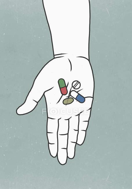 Руки, що тримає медицина проти кольоровому фоні — стокове фото