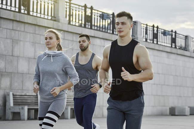 Юные спортсмены бегают против моста — стоковое фото