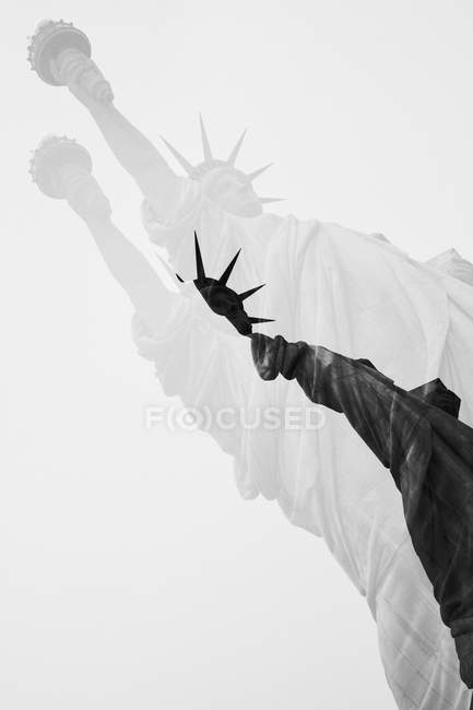 Statue of liberty in double exposure — Stock Photo