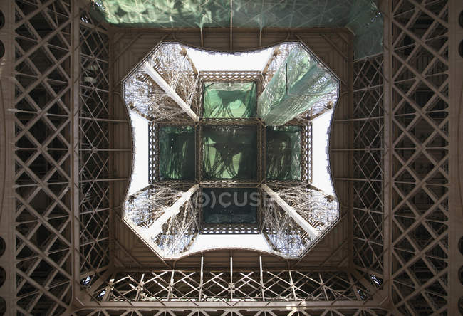 Bottom view of Eiffel Tower seen from below, Paris, France — Stock Photo