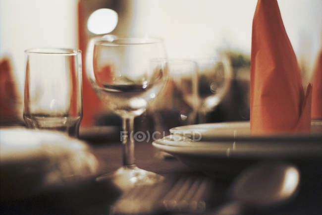 Obscured view to place setting in restaurant — Stock Photo