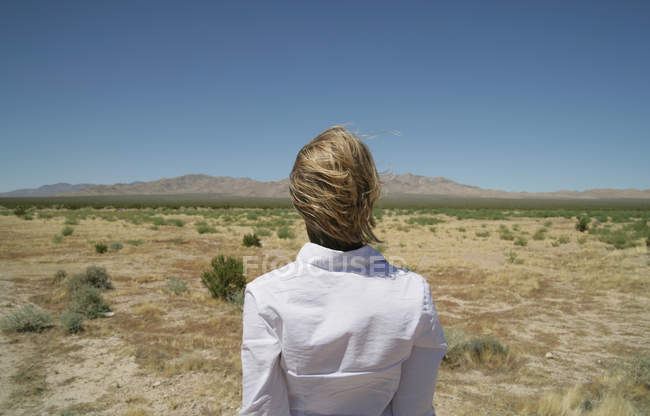 Rear view of young woman looking at view of desert — Stock Photo
