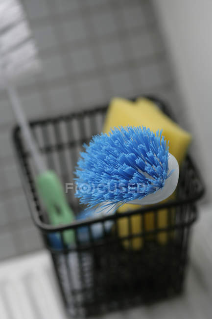 Close up view of collection of cleaning utensils — Stock Photo