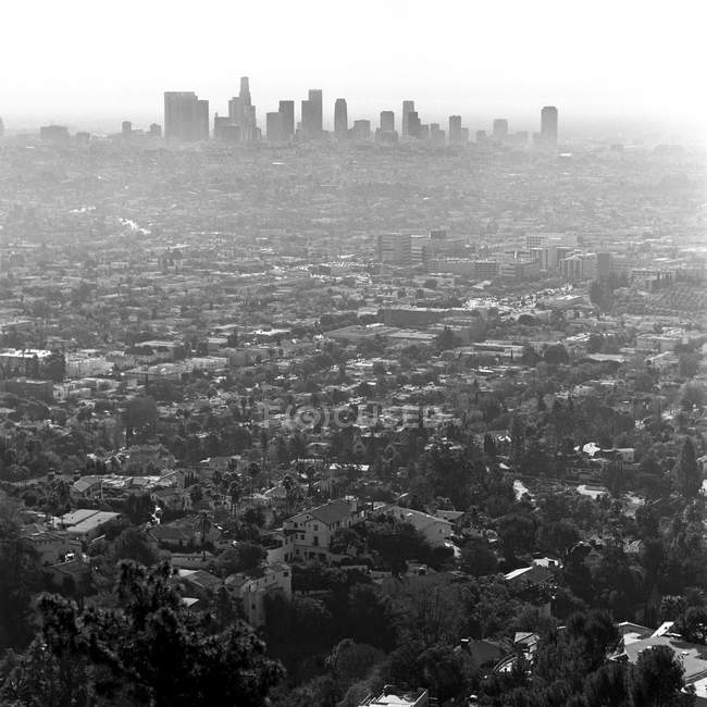 Aerial cityscape of Los Angeles on foggy day, California, USA — Stock Photo