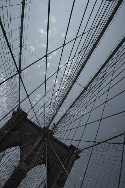 Pattern of steel cables of Bridge over sky — Stock Photo