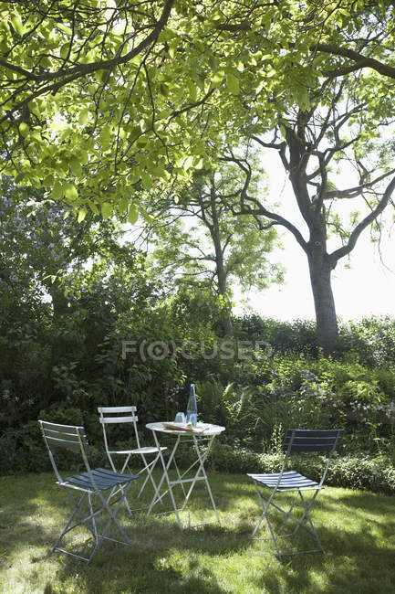 A table and chairs set up under the shade of a tree — Stock Photo