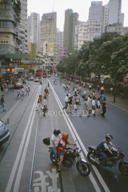 Busy city street, Hong Kong, Central District, China — Stock Photo