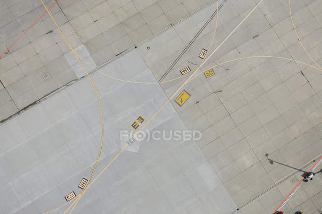 Aerial view of markings on airport tarmac — Stock Photo