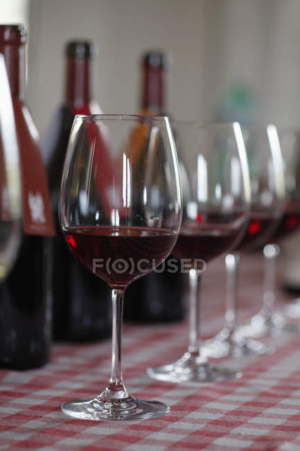 Various bottles of red wine with wineglasses in row — Stock Photo