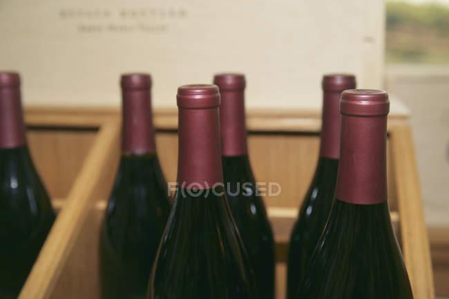 Крупним планом погляд пляшки вина на шельфі — стокове фото