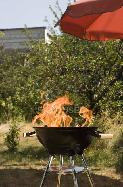 Flammende Barbecue-Grill auf Land — Stockfoto