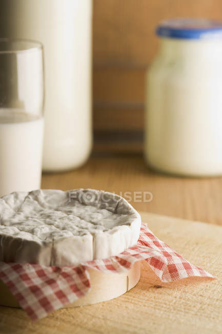 Close up view of various dairy products on table — Stock Photo