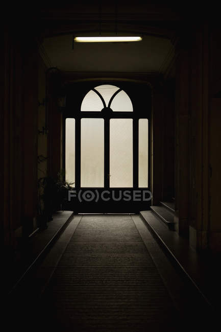 Full frame shot of dark entrance hall and door — Stock Photo