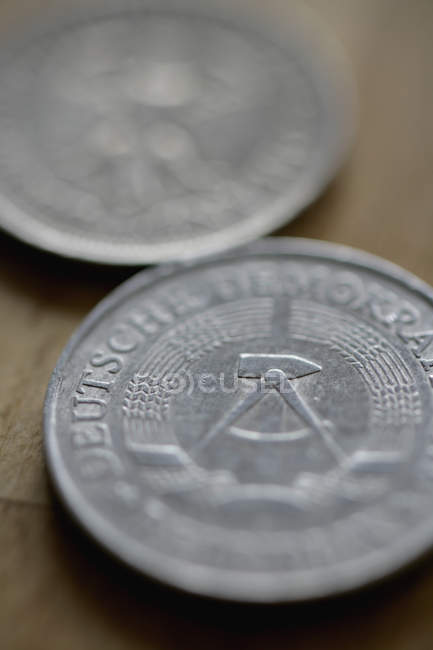 Extreme close up view of coins from GDR — Stock Photo