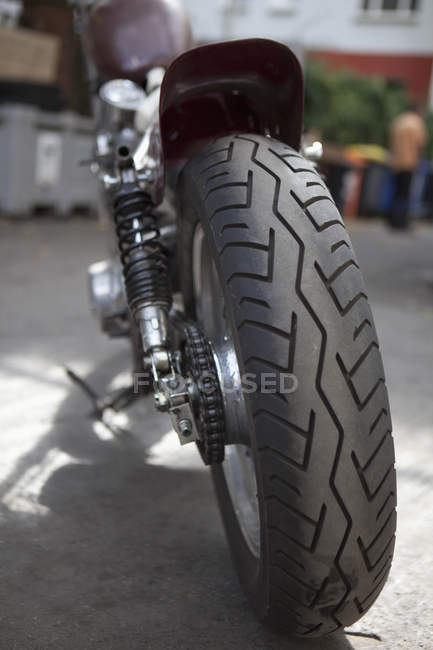 Close up view of pattern of rear tire of motorcycle — Stock Photo
