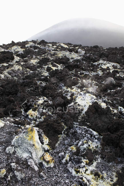 Close up view of rocky terrain with sulfur deposits — Stock Photo