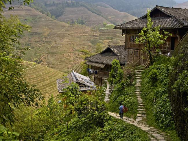 Mann läuft auf Fußweg in der Nähe von Reisterrassen — Stockfoto