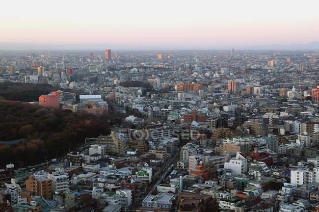 Vue aérienne du paysage urbain de Tokyo au crépuscule du soir — Photo de stock