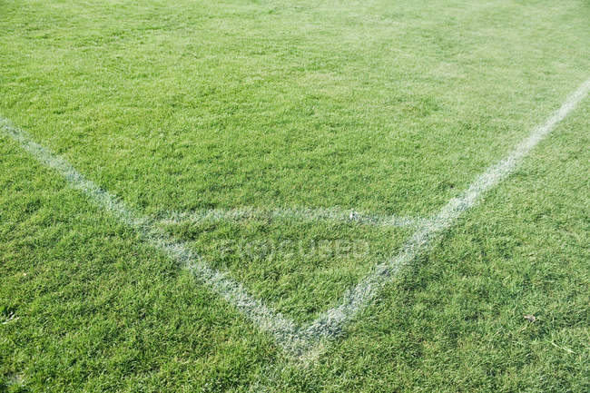 High angle view of corner of soccer field — Stock Photo