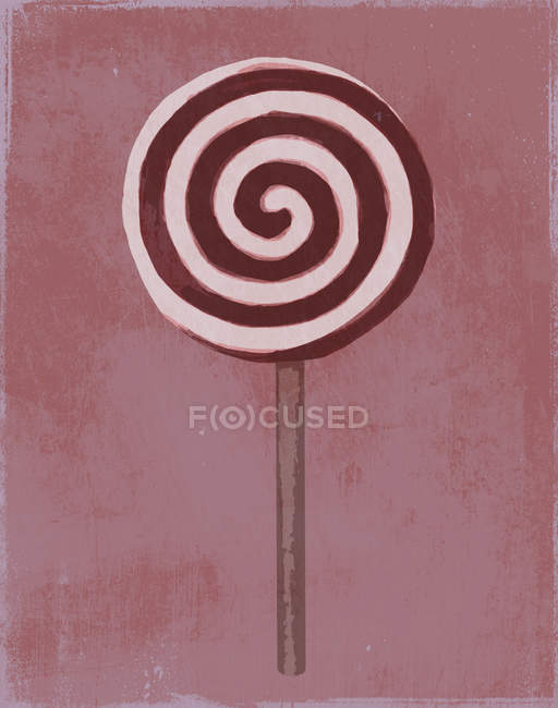 Painting of a swirl lollipop on red background — Stock Photo