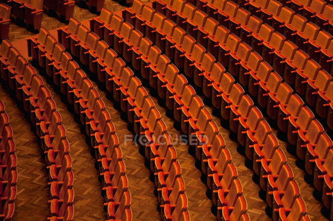 Distant view of row of seats in theater — Stock Photo