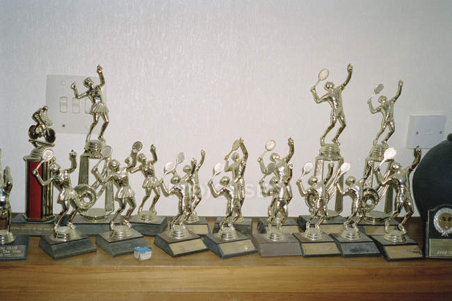 Collection of sports trophies on shekf — Stock Photo