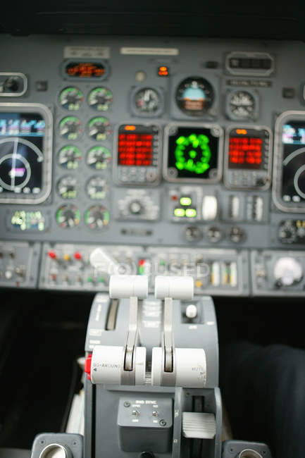 Close up view of control panel at airplane cockpit — Stock Photo