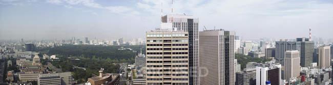Панорамний постріл Токіо міський пейзаж і Imperial парк — стокове фото