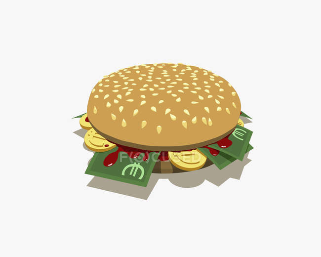 Burger with Euro banknotes and coins inside — Stock Photo