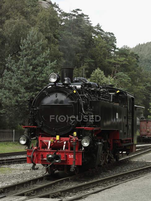 Retro steam train locomotive on rail tracks — Stock Photo