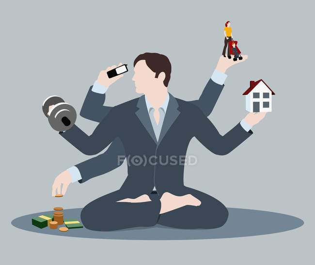 Illustration der Mann tut, Multi-tasking — Stockfoto