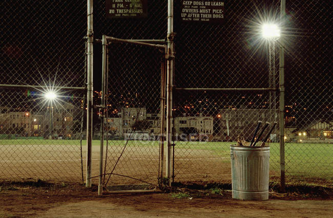 View to sports field illuminated at night — Stock Photo