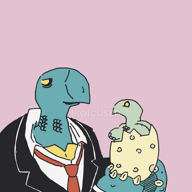 Tortue en costume et cravate holding nouvellement éclos tortue — Photo de stock