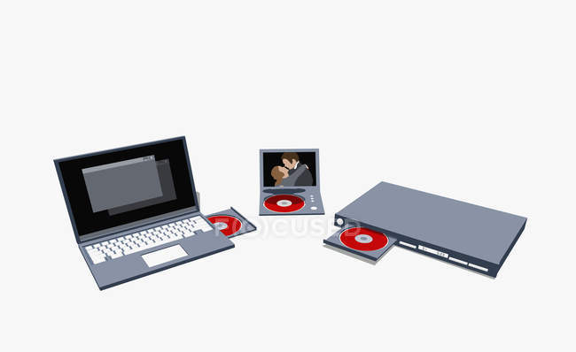 Illustration of  various laptop and DVD players — Stock Photo