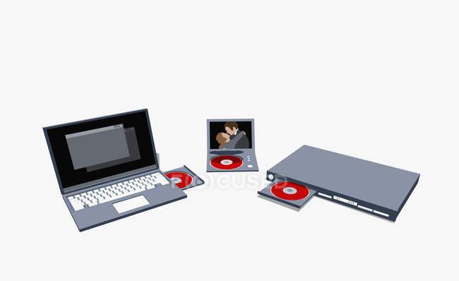 Illustration de divers ordinateurs portables et lecteurs DVD — Photo de stock