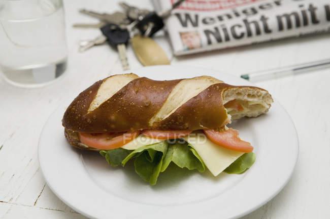 Sandwich sous-marin piqué à la tomate, à la laitue et au fromage sur une assiette en céramique — Photo de stock