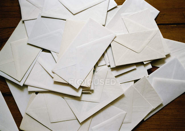 Directly above view of heap of envelopes — Stock Photo