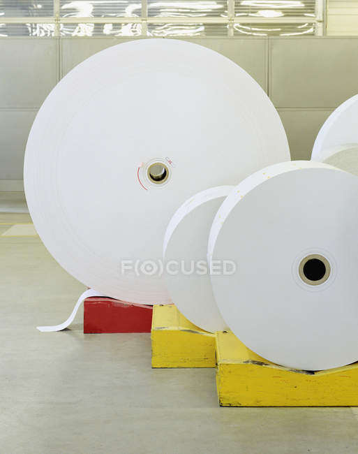 Big reels of rolled up paper — Stock Photo