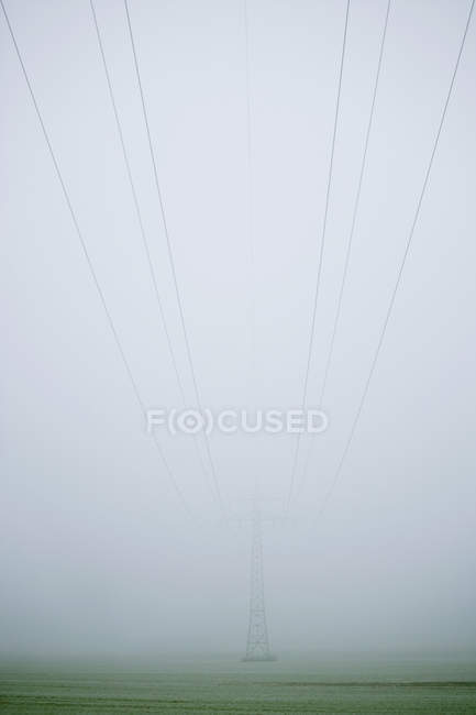 Pylon and cables emerging through fog — Stock Photo