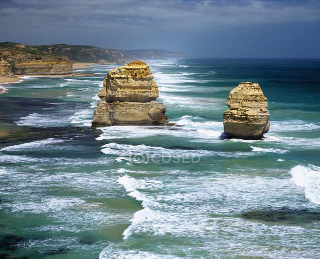 Distant view of twelve Apostles Sea Rocks, Australia — Stock Photo