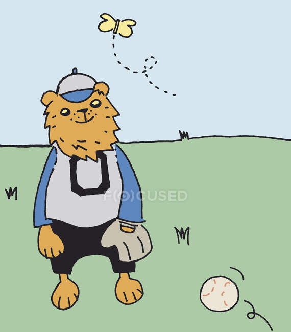 Lion dressed in  baseball uniform watching butterfly while ball comes toward — Stock Photo