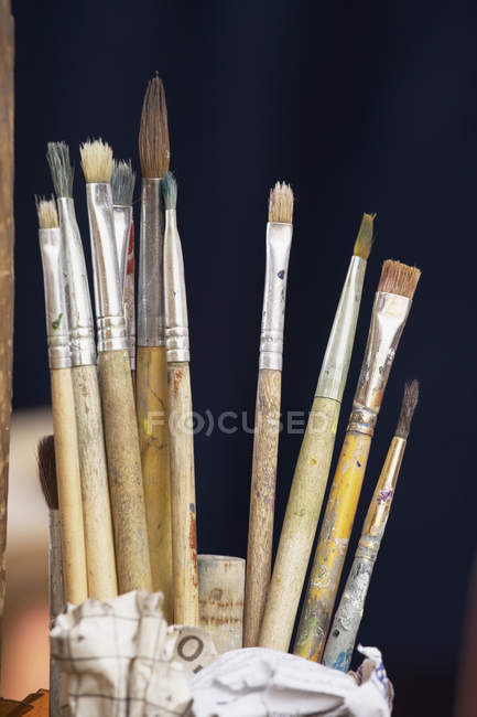 Close up view of clean artist's paintbrushes — Stock Photo