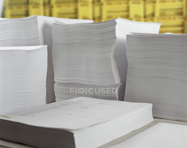 Close up view of stacks of paper — Stock Photo
