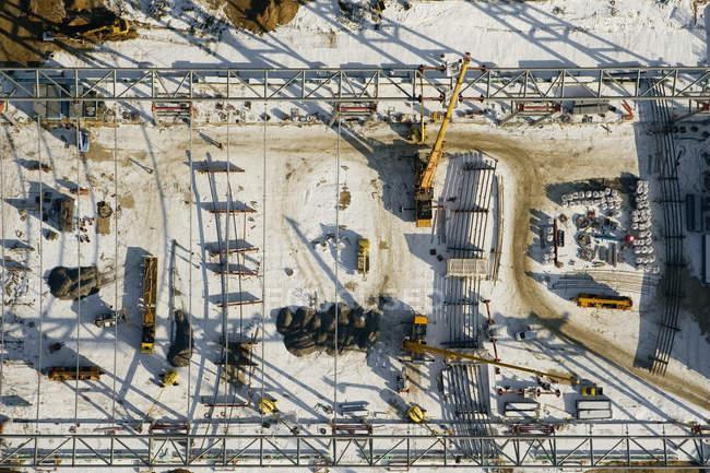 Vista aérea do estaleiro de construção industrial — Fotografia de Stock