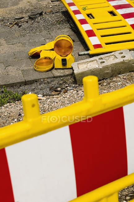 Road work bollards on side walk — Stock Photo